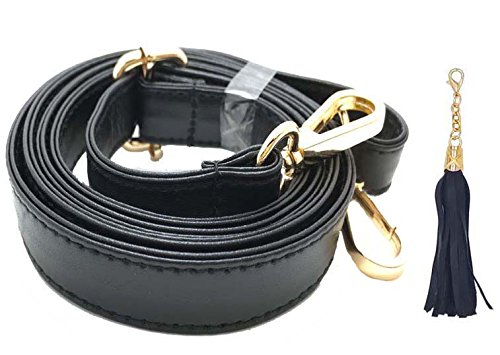 Purse Strap Replacement - Adjustable Microfiber Leather Strap for Cross body Bag or Handbag - 34 Inch- 59 Inch Long, 0.8 Inch Wide, Gold Clasp, Black, by Beaulegan