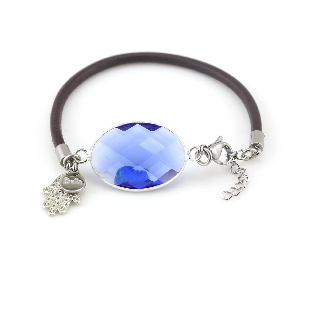 Blue Crystal /& Silver Hamsa Charm Bracelet with Leather by Balla Mom Gifts Gifts for Her