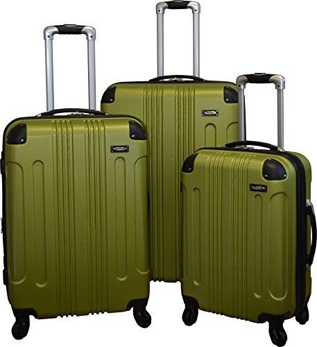 Kemyer 650 Lightweight 3-PC Expandable Hardside Spinner Luggage Spinner Set (Green)