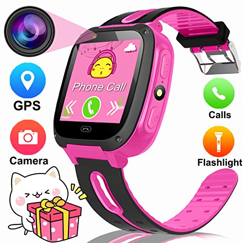 """1.54"""" Smart Watch For Kids,GPS Tracker Phone Watch with SIM Slot Game Camera Flashlight SOS for Parents APP iPhone Android Smartphone for Children Boys Girls Sport Camping Birthday Holiday Gift-Pink"""