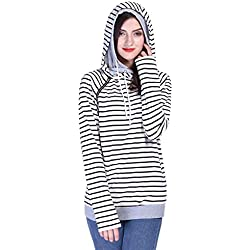 Fancyqube Women's Long Sleeve Striped Hoodie Oblique Zipper Double Hooded Sweatshirt Stripe L