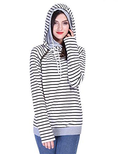 Fancyqube Women's Long Sleeve Striped Hoodie Oblique Zipper Double Hooded Sweatshirt Stripe L