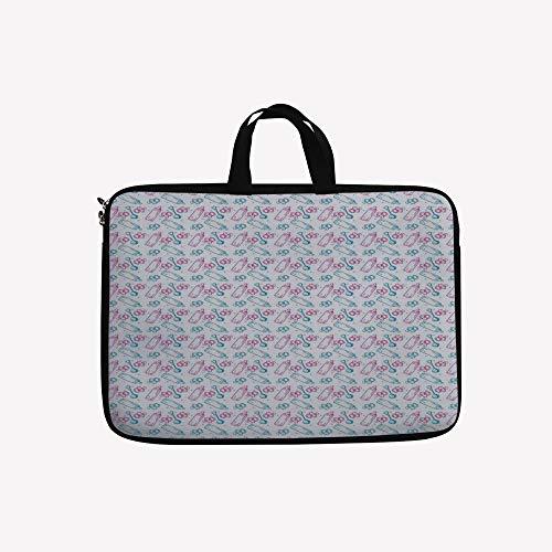 3D Printed Double Zipper Laptop Bag,Rattles Pattern Hand Dra