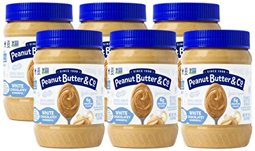 Peanut Butter & Co. White Chocolatey Wonderful Peanut Butter, Non-GMO Project Verified, Gluten Free, Vegan, 16 oz Jars (Pack of 6)