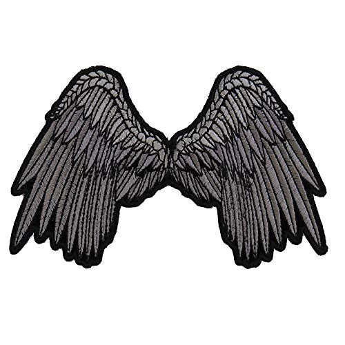 Angel Iron (Small Beautiful Angel Wings Grey Patch - 5x3 inch. Embroidered Iron on Patch)