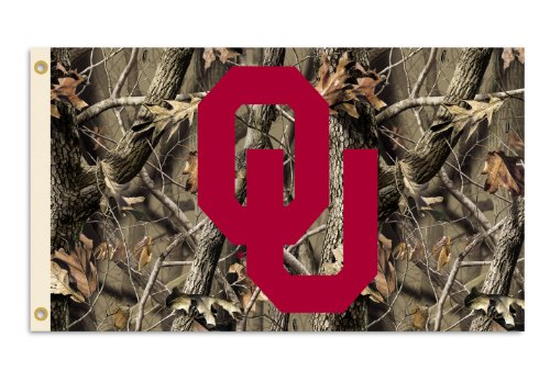 NCAA Oklahoma Sooners 3-by-5 Foot Flag with Grommets - Realtree Camo Background (Realtree Flag)