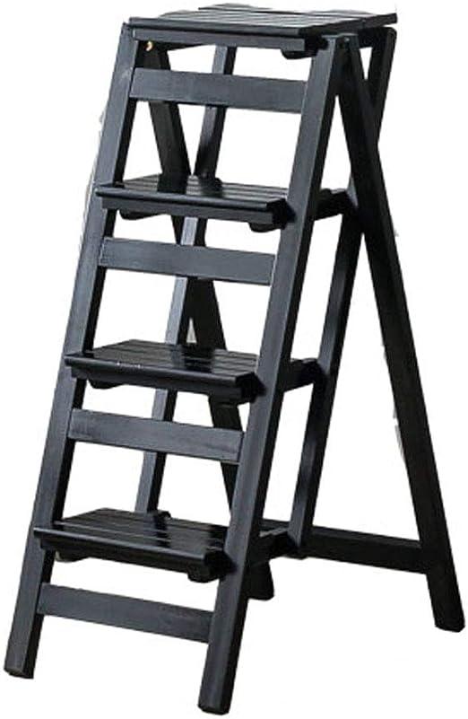 Plegables pasos de escalera Escalera plegable de 4 pasos Escalera/Escalera de madera Escalera plegable multifunción Taburete Biblioteca en casa Escalera para subir, 42 × 68 × 92 cm, negro: Amazon.es: Hogar