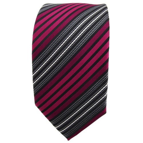 étroit TigerTie cravate rouge bordeaux anthracite noir argent rayé - cravate Tie