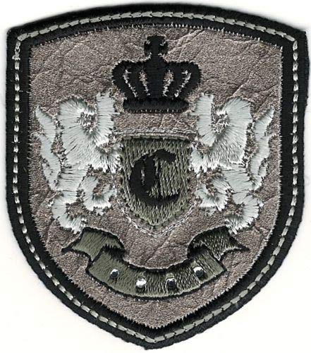 (Iron On Embroidered Patch Top Quality Silver Black Rampant Lion Crown Coat of Arms Crest Letter C 2 1/2