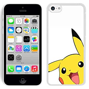 Pokemon Popular Cute and Funny Pikachu 03 White iPhone 5C Screen Cover Case Elegant and Fashion Look