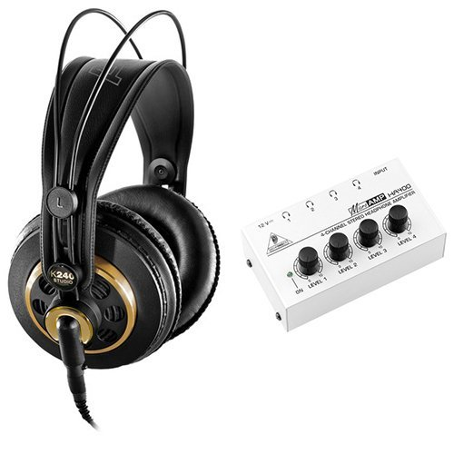 AKG K 240 Studio Professional Semi-Open Stereo Headphones with Behringer HA-400 Headphone Amplifier