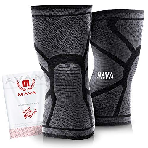 Mava Sports Knee Compression Sleeve Support, Pair (Black, XX-Large)