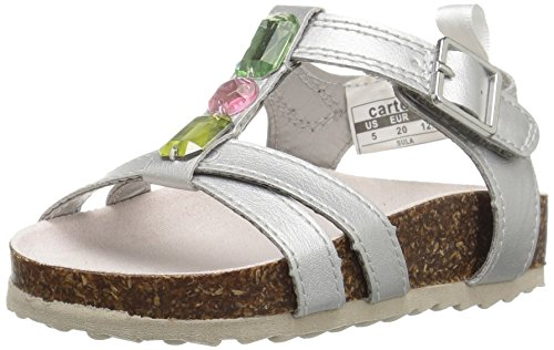 carter's Sula Girl's Jewel Sandal, Silver, 8 M US Toddler