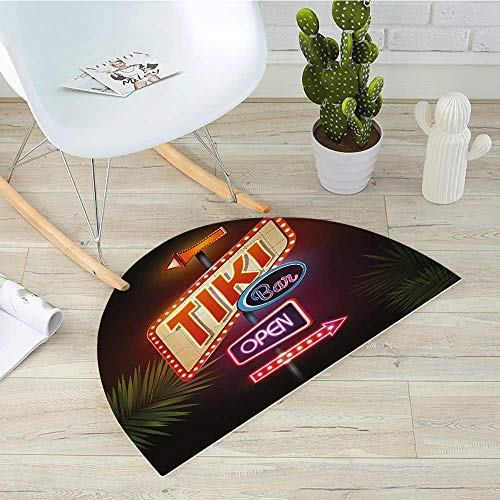 "Tiki Bar Semicircular CushionOld Fashioned Neon Signs Illustration of Open Bar Palm Tree Branches Roadside Entry Door Mat H 39.3"" xD 59"" Multicolor"