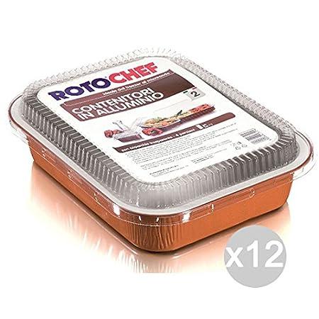 ROTOFRESH - Juego de 12 bandejas para microondas 2P de aluminio + ...