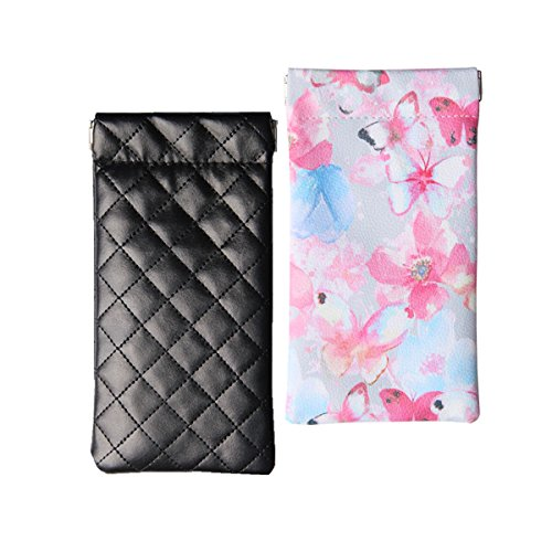 Case Butterflies Eyeglass (Lucky Leaf Sunglasses Goggles Pouch Case Women Eyeglass Holder with Cleaning Cloth (Black Square+Blue Butterflies))