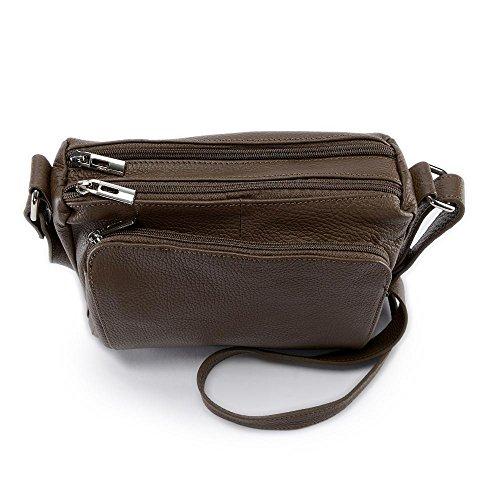 Oh My Bag–Bolso bandolera de piel Para Mujer–Modelo MIA TAUPE FONCE