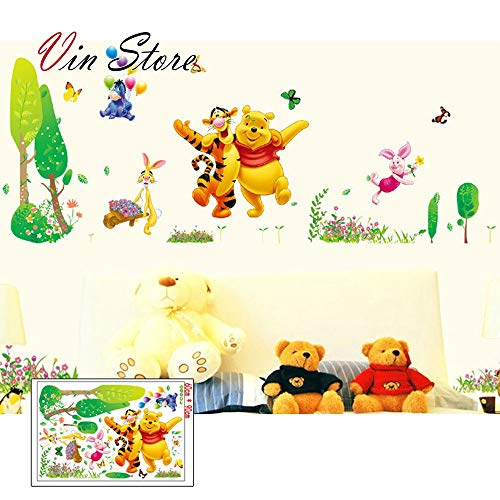 Winnie The Pooh Decorations Nursery Bedding Room with Wall Art Decals Decor Winnie Pooh Tigger Animal Wallpaper (Style 10)
