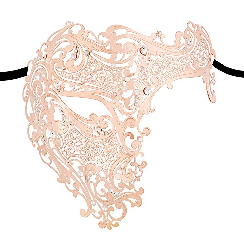 Thmyo Half Face Masquerade Mask,Shiny Metal Rhinestone Halloween Costume Party Mask (Rose Gold) -