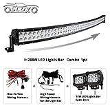 SLDX 288w 50inch Off Road Curved Combo Led Light Bar 2pcs 18w Spot Light Bar Free Wiring Harness