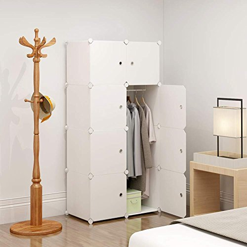 KOUSI Portable Clothes Closet Wardrobe Bedroom Armoire Dresser Cube Storage Organizer, Capacious & Customizable, White, 5 Cubes+1 Hanging Section