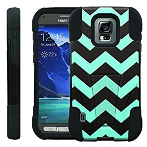 [ManiaGear] Rugged Armor-Stand Design Image Protect Case (Black Blue Chavron) for Samsung Galaxy S5 Active SM-G870A