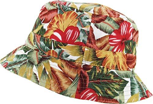 Funky Junque Bucket Hat Packable Outdoor Camping Fishing Rain Safari Boonie Cap (Hawaiian - Khaki/Olive)