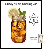Set of 6 Drinking / Mason Jar 16 oz No Handle Libbey Glass 92103