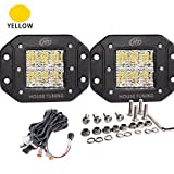 House Tuning - Yellow 30W CREE LED Flush Mount Backup Light kit Diffused Flood beam for Jeep Trucks Off road tractors 4WD Bumper mount-2years Warranty (30W-Flood-Flush-Amber)