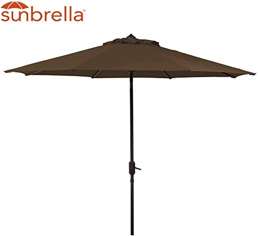 Sunbrella Spectrum Coffee 9 Outdoor Patio Umbrella 9-Feet Aluminum Crank Market Umbrella Huge 9 Foot Aluminum Auto Tilt Patio Umbrella 9 FT, Coffee