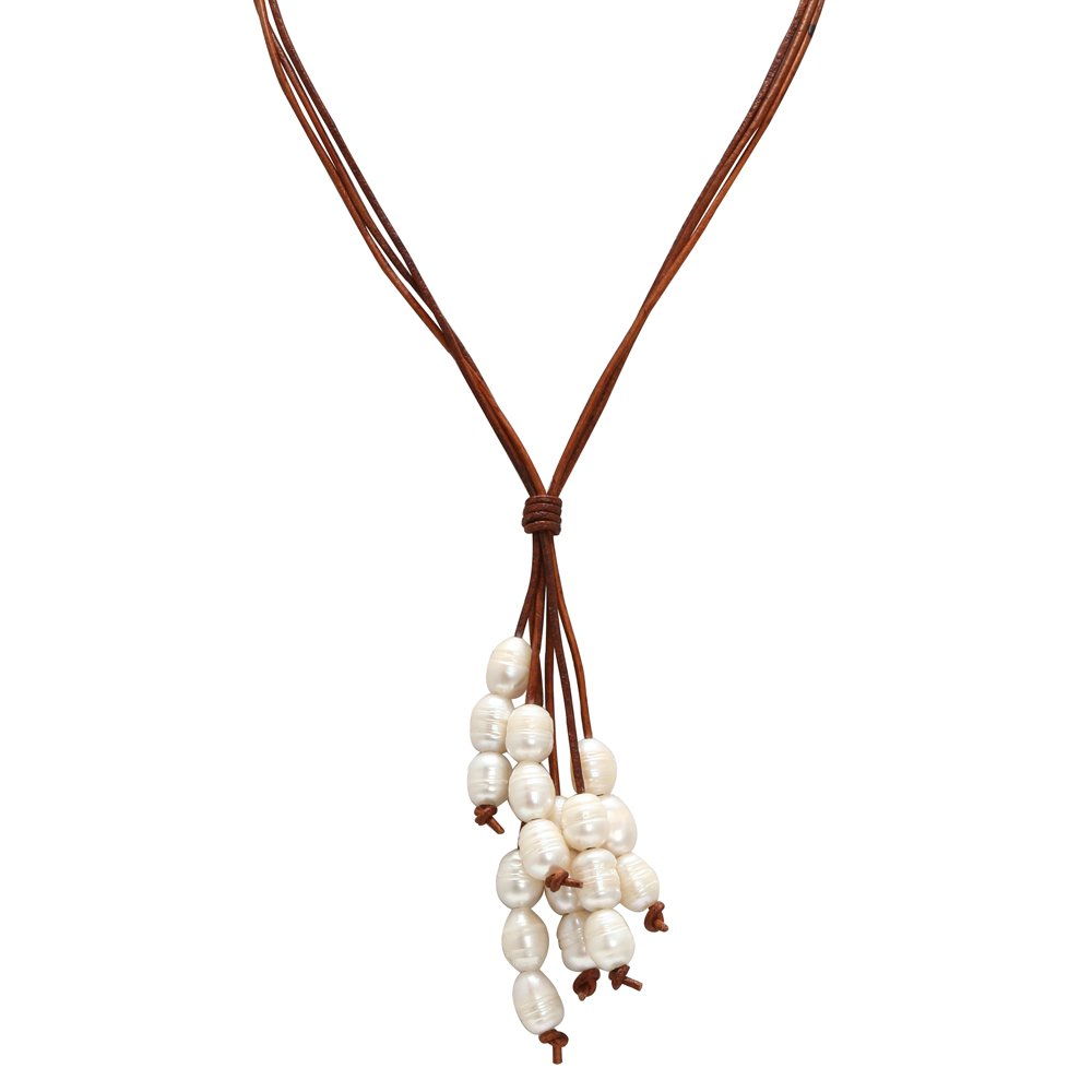 ShengSheng Long Strand Cultured Pearl Pendant Necklaces Genuine Leather Jewelry by PEARLADA (Image #1)