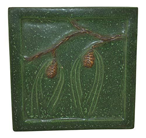 Ephraim Faience Pottery 1999 Northwoods Pine Cone Tile 990