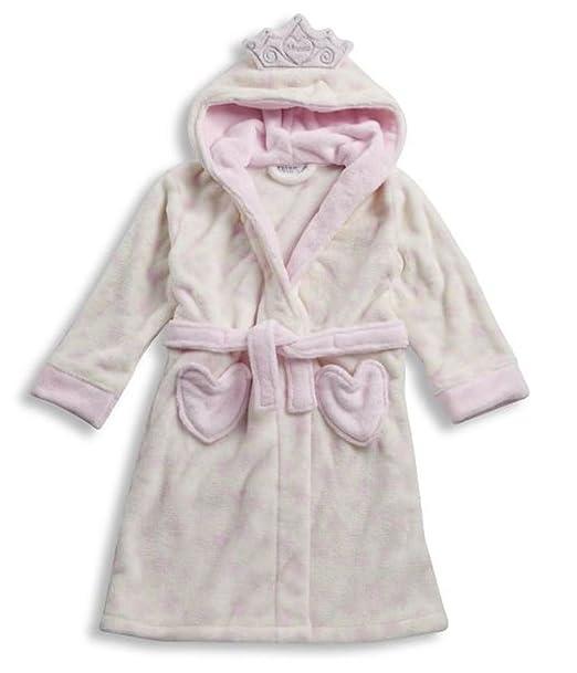 Las niñas de forro polar albornoz con corona – princesa rosa Pale pink with hearts 4