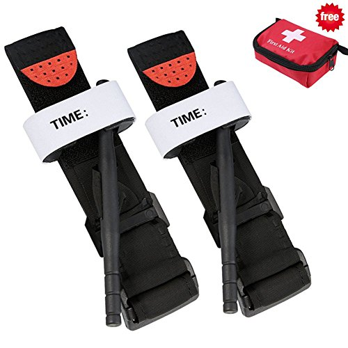 2 Pack of Tourniquets, Stops Bleeding from Life Threatening in Hunting and Hiking, Life Saving First Aid Equipment, Best for Rapid Rescue in Combat & Severe Emergencies and Blood Loss - Tourniquet Velcro