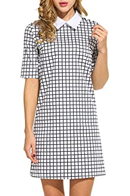 HOTOUCH Women's Casual Doll Collar Short Sleeve Plaid Shift Dress