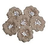 Pack of 6 Hessian Burlap Flowers Beads Rustic Wedding Craft Decoration