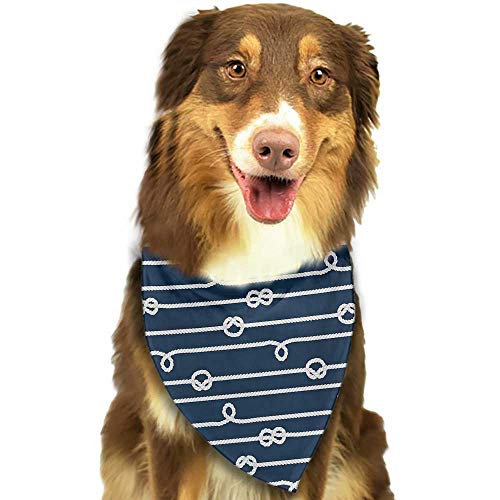 Custom pet Scarf Navy Blue Horizontal Marine Knots Ropes Figures Undone Bowline Sailor Sailing Theme W27.5 xL12 Scarf for Small and Medium Dogs and Cats