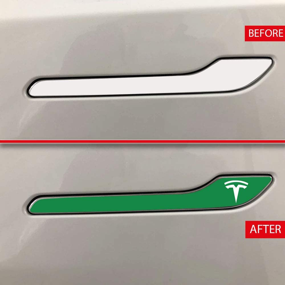 Set of 4 IPG for Tesla Model 3 Door Handle Decal Sticker Wrap Kit with Tesla Logo