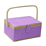D&D Sewing Basket Organizer, Wooden Sewing Box with Sewing Kit Accessories/Insert Tray/Handle/Built-in Pincushion & Interior Pocket - Purple Polka Dot - Large