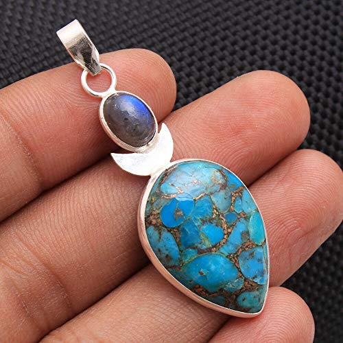 - Blue Copper Turquoise Oval Labradorite Pendant 925 Sterling Silver Jewelry #KD-390