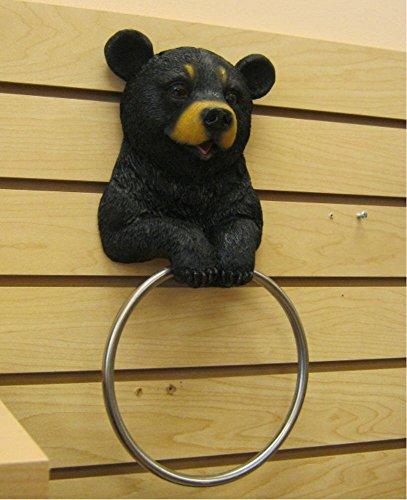 Paper Holder Cabin Towel - Hugo The Helper Black Bear Towel Holder Decoration