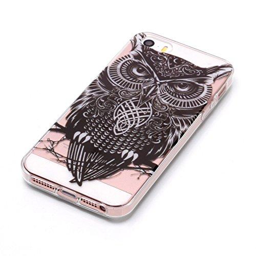 iPhone SE / 5 / 5S Hülle Schwarze Eule Premium Handy Tasche Schutz Transparent Schale Für Apple iPhone SE / 5 / 5S + Zwei Geschenk