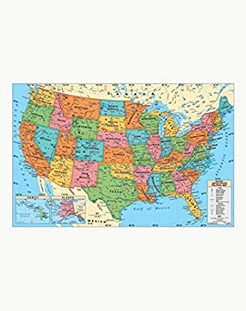 Replogle Set of maps- Laminated USA and Laminated World map, Made in USA,  (49\