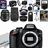 Nikon D3200 24.2 MP CMOS Digital SLR Camera (Import Model) with 18-55mm f/3.5-5.6G AF-S DX VR Lens and Sigma 70-300mm f/4-5.6 SLD DG Macro Lens with built in motor + 32GB Deluxe Accessory Kit