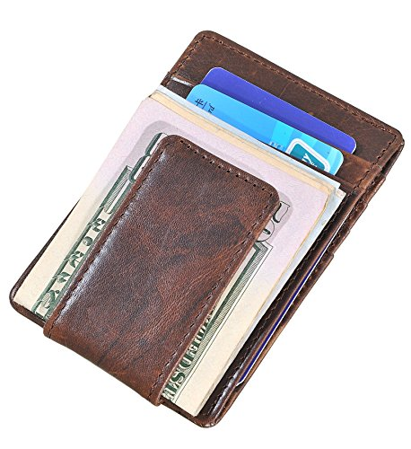 Mens Money Clip Wallet RFID Slim Wallet Genuine Leather Thin Front Pocket Wallet (Coffee (Oil Wax Leather)) by Yuhan Pretty (Image #5)