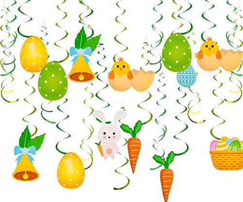 ANPHSIN 30 Count Easter Hanging Swirls Decoration- Cute Easter Party Ball Swirl Decor for Window Porch at Home Mall and -