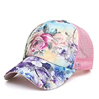 Eforstore Snapback Baseball Cap Floral Perforated Ball Caps Golf Hats Summer Mesh Hat for Women Teens Girls