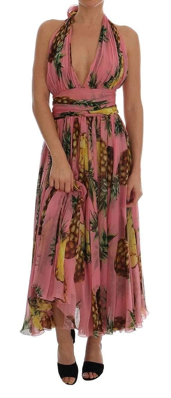 e01beb76 Amazon.com: Dolce & Gabbana Multicolor Pineapple-Print Silk-Chiffon Dress  Pink: Clothing