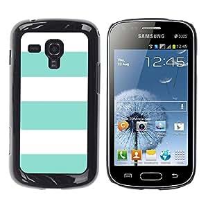 FECELL CITY // Duro Aluminio Pegatina PC Caso decorativo Funda Carcasa de Protección para Samsung Galaxy S Duos S7562 // Teal Summer White Lines Pattern Sun