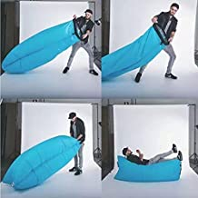 Inflatable Outdoor Air Sleep Sofa Couch Portable Furniture Sleeping Hangout Lounger Imitate Nylon External Internal PVC for Summer Camping Beach (Blue)